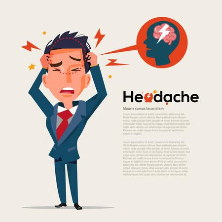 smart man get headache - healthcare and migraine concept - vector illustration Иллюстрация