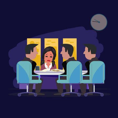 llegar tarde: tarde por la noche de la reuni�n de la oficina. ser el concepto de neum�tico - ilustraci�n vectorial Vectores