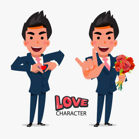 smart man: smart man show love hand sign in separate action. character design with typographic - vector illustration Illustration