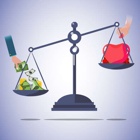 love of money: scale balance of money and love.  - vector illutsration