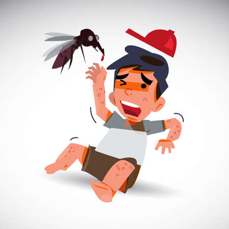 infectious: mosquito and afraid boy with dengue effect . fever concept - vector illustration