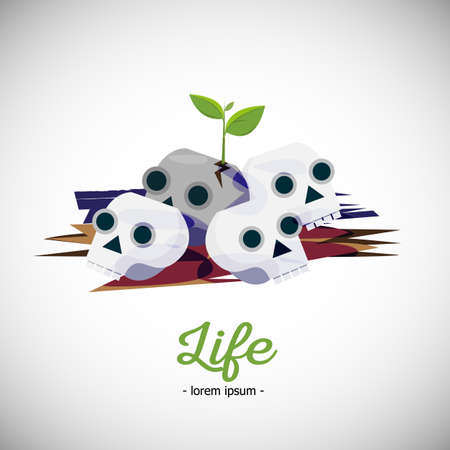 plant growth: seed plant growth from skull. life from dead concept - vector illustration