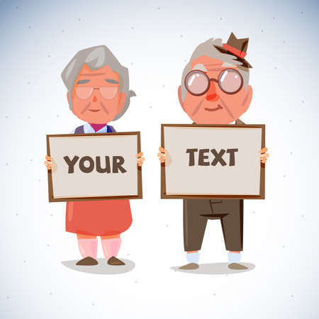 happy mature couple: elder couple holding blank paper to presentation. old age concept - vector illustration