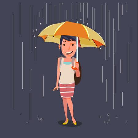 umbrella cartoon: women holding umbrella in raining. character design. season concept - vector illustration