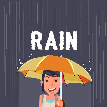 rain coat: woman under umbrella in raining season - vector illustration