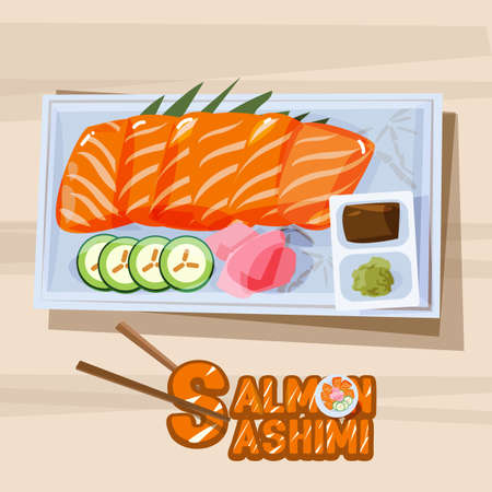 sashimi: salmon sashimi in plate with sauce - vector illustration