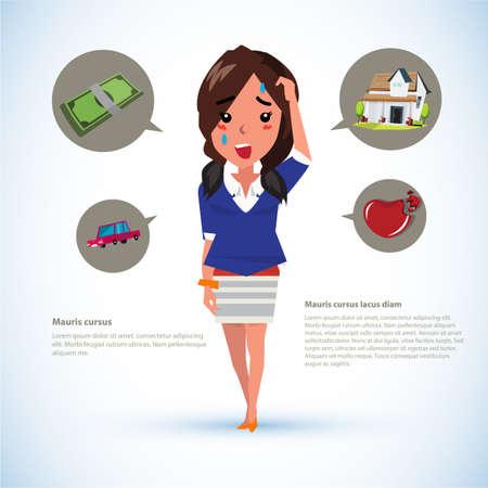 broken house: serious women with icons. money. car. house. broken heart - vector illustration Illustration