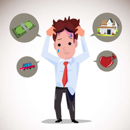 serious: serious man with icons. money. car. house. broken heart - vector illustration