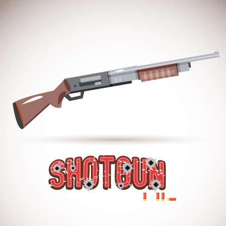 shell: pump action shotgun with bullet typographic design - vector illustration Illustration