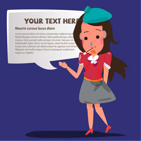 incubation: sick girl taking temperature, with an ice pack on her head. presentation. speech bubble for replace your text - vector illustration