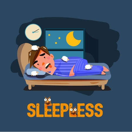 sleepless man character on the bed with bad emotional feeling. character design. ubhealthy concept - vector illustration Vectores