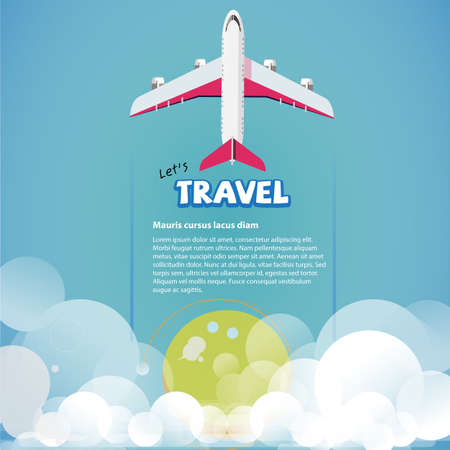 replace: plane flying up to the sky. replace your text. travel concept - vector illustration