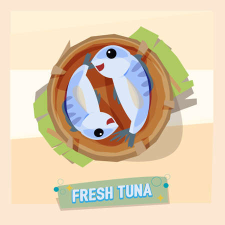 farmed: fresh tuna in basket - vector illustration Illustration