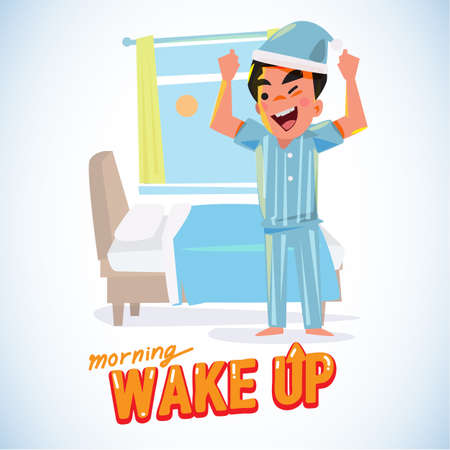 waking up: waking up man in the morning in refresh action. character design - vector illustration