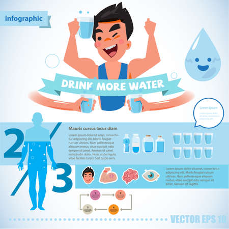 energy drink: happy fresh man holding glass of water. drink more water for healthy concept. infographic - vector illustration