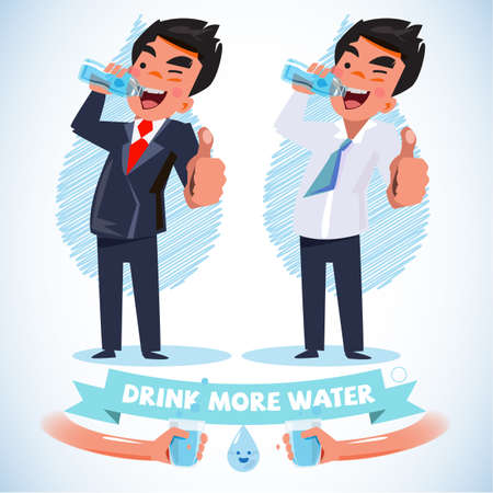 water drink: smart man in various action drink water and show thumbs up - vector illustration