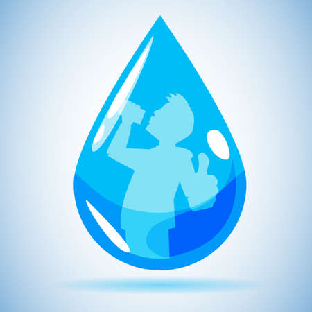 man drinking water: water blob icon with drinking man inside, drink more water concept. healthy - vector illustration