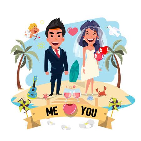 beach party: wedding couple with beach background . love summer concept - vector illustration