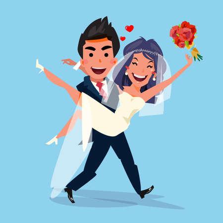enamorados caricatura: El novio de la novia que lleva sosteniéndola en sus brazos. amor y concepto de la boda. diseño de personajes - ilustración vectorial