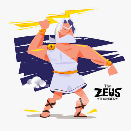 gods: zues in action. zues with thunder bolt in hand - vector illustration