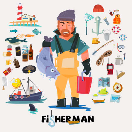 fishery: fisherman with big fish in hand. fishery icon set. graphic element. typographic design .character design. - vector illustration