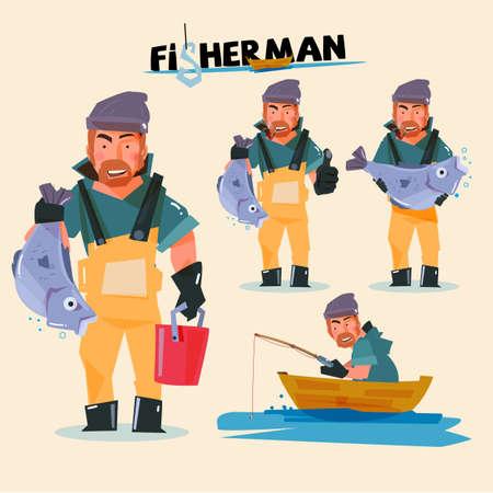 pecheur: pêcheur dans diverses actions. character design - illustration vectorielle Illustration