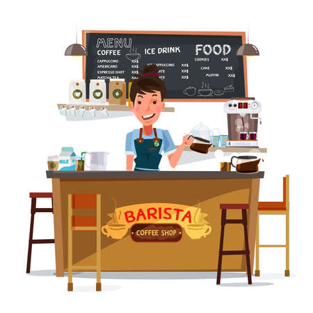 frothy: coffee bar and barista man. character design - vector illustration