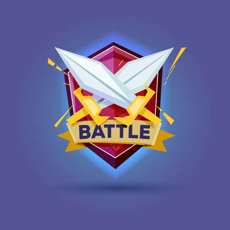 battle cross: cross sword with shield. Knights Equipment. battle concept - vector illustration