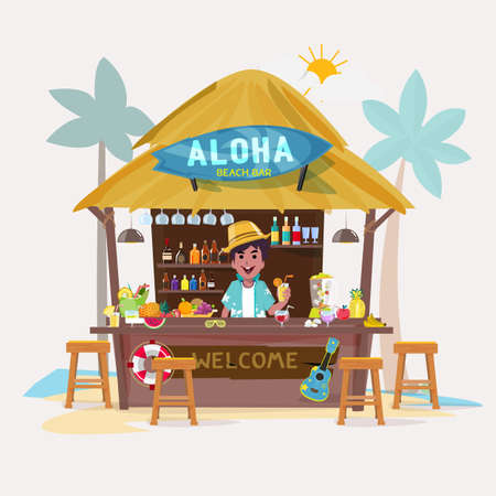 beach bar with bartender character. cafe-bar bungalows on the beach. summer vacation concept - vector illustration