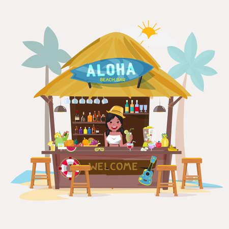spiaggia: bar sulla spiaggia con carattere barista. bungalow caffè-bar sulla spiaggia. concetto di vacanza estiva - illustrazione vettoriale