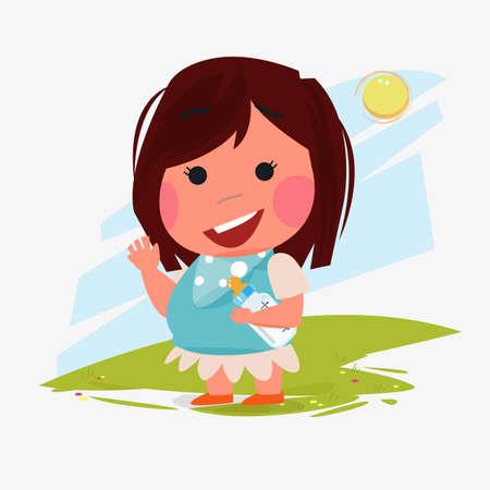girl kid character with her baby milk bottle. character design - vector illustration Illustration