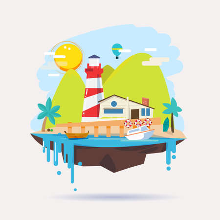 marge: lighthouse and home on island in tropics. Summer vacation concept. Village houses - vector illustration