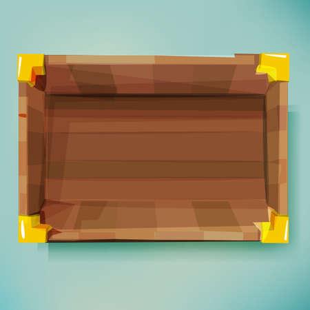 trompo de madera: Vista superior de la caja de madera vieja. Tesoro - ilustración vectorial Vectores