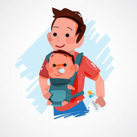 father carrying little baby. character design. super dad concept - vector illustration Illustration