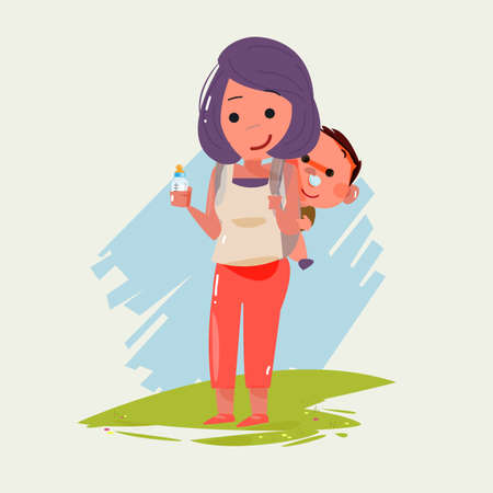 mom and daughter: mother carrying little baby. character design. super dad concept - vector illustration Illustration