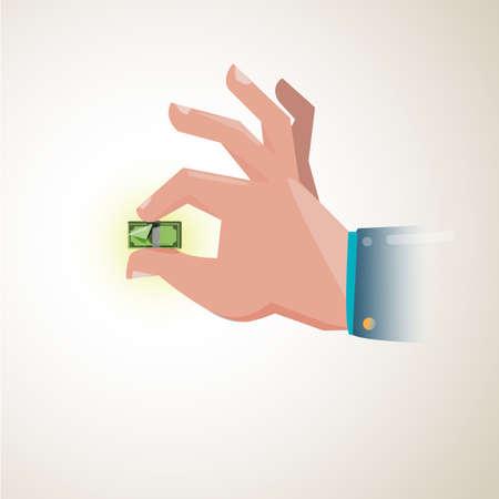 ploblem: a hand holding a tiny money bill showing the weakening of exchange rate, ploblem money concept - vector illustration Illustration