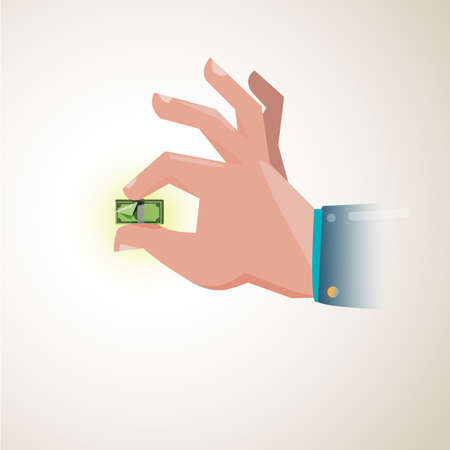 a hand holding a tiny money bill showing the weakening of exchange rate, ploblem money concept - vector illustration Çizim