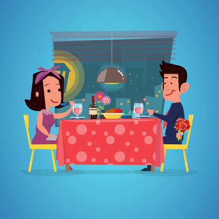 loving couple in restaurant. Romantic dinner. man with rose branch in hand  for sruprise. character design - vector illustration Vectores