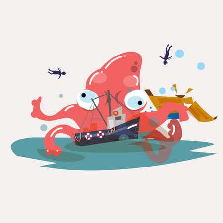 attack: giant octopus attack boat. - vector illustration