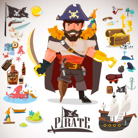 pirate character design with icons element. typographic design  - vector illustration Illustration
