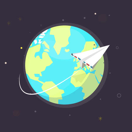 flying paper: planet with flying paper plane - vector illustration