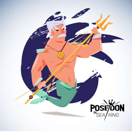 king neptune: poseidon. character design with typographic - vector illustration