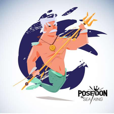 king neptune: poseidon. character design with typographic - vector illustration