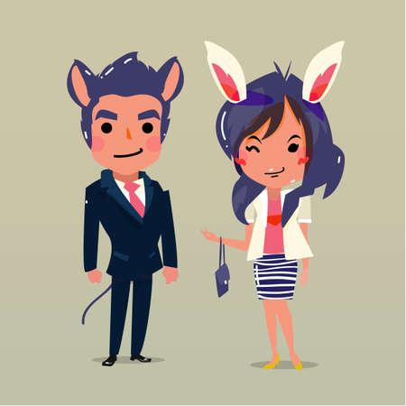 lapin sexy: homme de rat et de lapin fille - illustration vectorielle