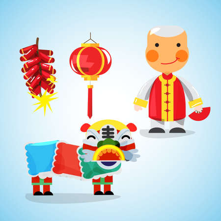 Chinese New Year icon and character - vector illustration