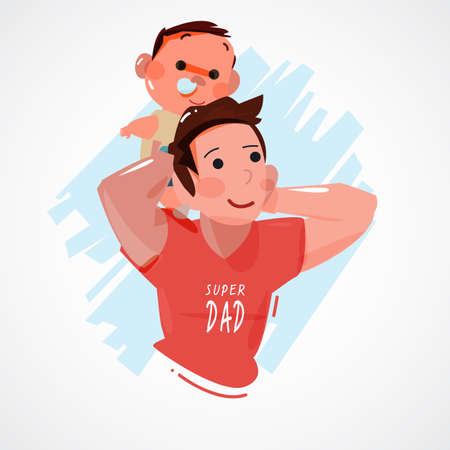 felicity: father and his baby on shoulder. super dad concept . character design - vector illustration Illustration