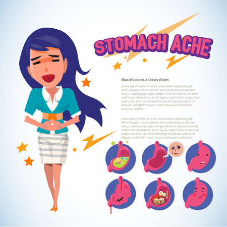 female touching her belly. stomach ache pain concept. infographic with emotion set - vector illustration Vector Illustration
