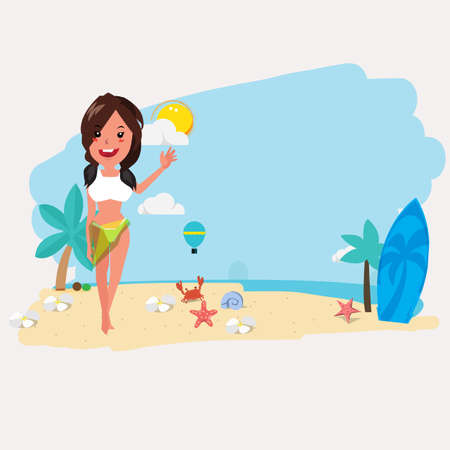 swimsuit: cute women on the beach presenting. summer concept - vector illustration