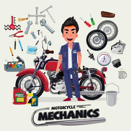 car fix: motorcycle mechanics with tool kit. character design - vector illustration Illustration