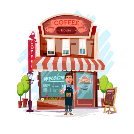 coffee house with barista man. Facade of a coffee shop store or cafe - vector illustration